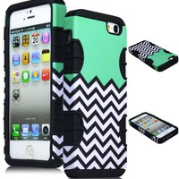 Bastex Hybrid Case for Apple Iphone 5 - Black Silicone with Hard Sky Blue, Mint, Teal & White Chevron Pattern