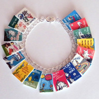Dr. Seuss Book Cover Charm Bracelet Cat in the Hat, The Grinch, Happy Birthday Dr Suess Story Teacher