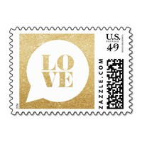GOLD GLITTER LOVE SPEECH BUBBLE WEDDING STAMP
