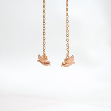 Rose Gold Plated Love Birds Dangle Earrings - Simple Modern Minimalist Jewelry - Delicate Earrings