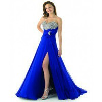 A-Line Strapless Sweep Train Chiffon Prom Dress SAL1074