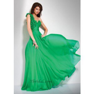 A-Line One-Shoulder Floor-Length Chiffon Prom Dress SAL1079