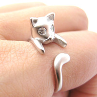 Adorable Kitty Cat Kitten Sleek Animal Wrap Around Ring in Silver