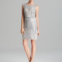 Aidan Mattox Sheath Dress - Sleeveless Deco Beaded