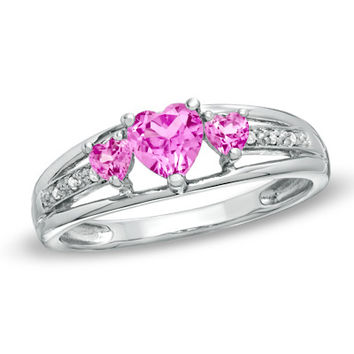 Heart-Shaped Lab-Created Pink Sapphire Three Stone and Diamond Accent Ring in Sterling Silver