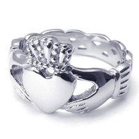 KONOV Jewelry Stainless Steel Unisex Claddagh Heart Crown Ring