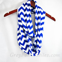 Very Soft Royal blue and white chevron jersey knit infinity scarf