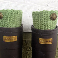 Crochet Boot Cuff, Moss Green, Boot Cuff with Button