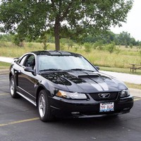 2004 Mustang GT in black with Gun Metal racing stripes- Jim Artos '04 at AmericanMuscle.com - Free Shipping!
