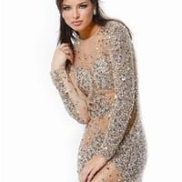 Jovani 7757, Long-Sleeve Sheer Dress Covered in Jewels