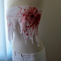 Women's Blood Spattered Rave Outfit, Zombie Rave Outfit, Blood Spattered Phat Pants and Matching Boob Tube