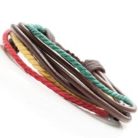 Men's Urban Carnival Bob Marley Jamaica Style Leather Bracelet Cuff