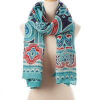 Turquoise Multi Bangalore Tie All Scarf - Scarves - Shop | Theodora & Callum