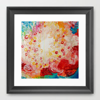 SUMMER DAYS Feminine Pretty Pink Red Peach Abstract Acrylic Painting Whismical Nature Color Splash Framed Art Print by EbiEmporium