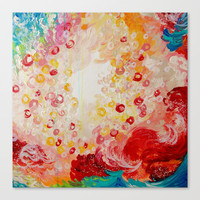 SUMMER DAYS Feminine Pretty Pink Red Peach Abstract Acrylic Painting Whismical Nature Color Splash Stretched Canvas by EbiEmporium