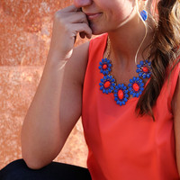 Coral + Deep Blue Cluster Necklace