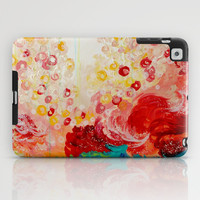 SUMMER DAYS Feminine Pretty Pink Red Peach Abstract Acrylic Painting Whismical Nature Color Splash iPad Case by EbiEmporium