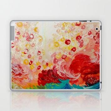 SUMMER DAYS Feminine Pretty Pink Red Peach Abstract Acrylic Painting Whismical Nature Color Splash Laptop & iPad Skin by EbiEmporium