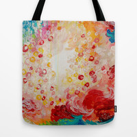 SUMMER DAYS Feminine Pretty Pink Red Peach Abstract Acrylic Painting Whismical Nature Color Splash Tote Bag by EbiEmporium