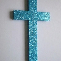 AQUA GLITTER CROSS - Wall Cross in Sparkling Aqua/Teal Glitter