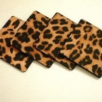 ANIMAL PRINT COASTERS - Set of 4 Large Square Drink Coasters in Cheetah Print Eco Felt