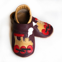 Leather Baby Booties, Baby Shoes, Mustard Purple Red Infant Newborn Nursery Children Train
