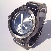 New Authentic Nixon A037000 42-20 Chrono Black Silver Watch NIB