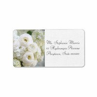 white hydrangeas and ranunculus address labels