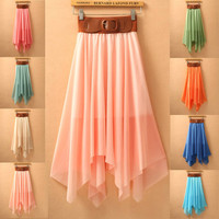 IRREGULAR SKIRT FULL-SKIRTED DRESS SKIRTS WITH BELT