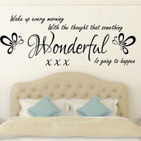 Wake up every morning Inspirational Wall Quote Sticker Vinyl Decal for Bedroom