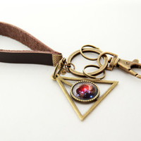 Galaxy Keychain- V838 Monocerotis Variable Star- Leather Chain Brass Planet Pendant Key Chain