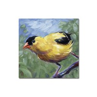 Goldfinch Painting, 5x5 inch original oil painting | GildedOwlJewelry - Painting on ArtFire