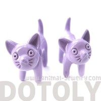 3D Fake Gauge Adorable Kitty Cat Animal Stud Earrings in Light Purple