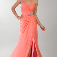 Floor Length One Shoulder Ruched Dress