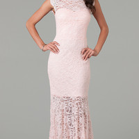 Cap Sleeve Floor Length Lace Dress