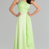 Long One Shoulder Open Back Gown