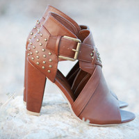 Bumper Nyla-11 Lt Brown Studded Open Toe Cut Out Chunky Heel | Shoes 4 U Las Vegas