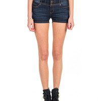 Four Button High Rise Denim Shorts - Dark Blue