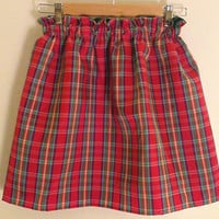 SALE Traditional Taffeta Plaid Christmas Skirt Fully Lined