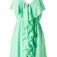 Zip Front Ruffle Dress