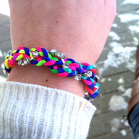 Rainbow Braids and Rhinestones Bracelet