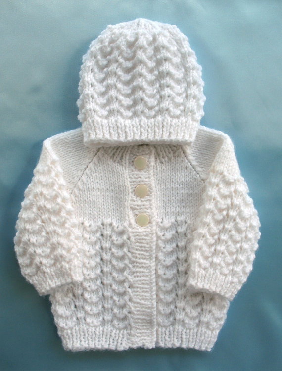 Hand Knit Baby Sweater Set Preemie White from SticksNStonesGifts