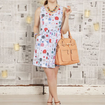 ModCloth Kawaii Short Tank top (2 thick straps) Fit & Flare Air of Adorable Dress in Balloons
