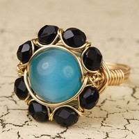 Wire Wrapped Ring - Gold Tone- Turquoise Cats Eye Glass Flower - Any Size- Size 4, 5, 6, 7, 8, 9, 10, 11, 12, 13, 14