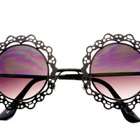 Unique Womens Retro Vintage Black Metal Round Sunglasses R1622 – FREYRS - Sunglasses at Affordable Prices