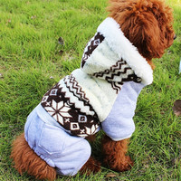 Free shipping!Autumn Winter Cute Snow Dog Clothes,Coral Fleece 4 Legs Pet Clothing,Schnauzer Pomeranian Chihuahua Teddy Dog Clothes