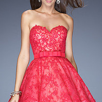 Short Hot Fuchsia Lace La Femme Dress 20398