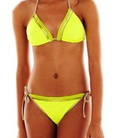 Sequined Neon Yellow Green Slider Swim Bikini Bottom (Size: Large)