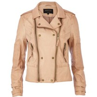 Light brown double zip biker jacket - biker jackets - coats / jackets - women