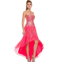 2014 Prom Dresses - Watermelon Chiffon & Silver Sequin Strapless High Low Dress